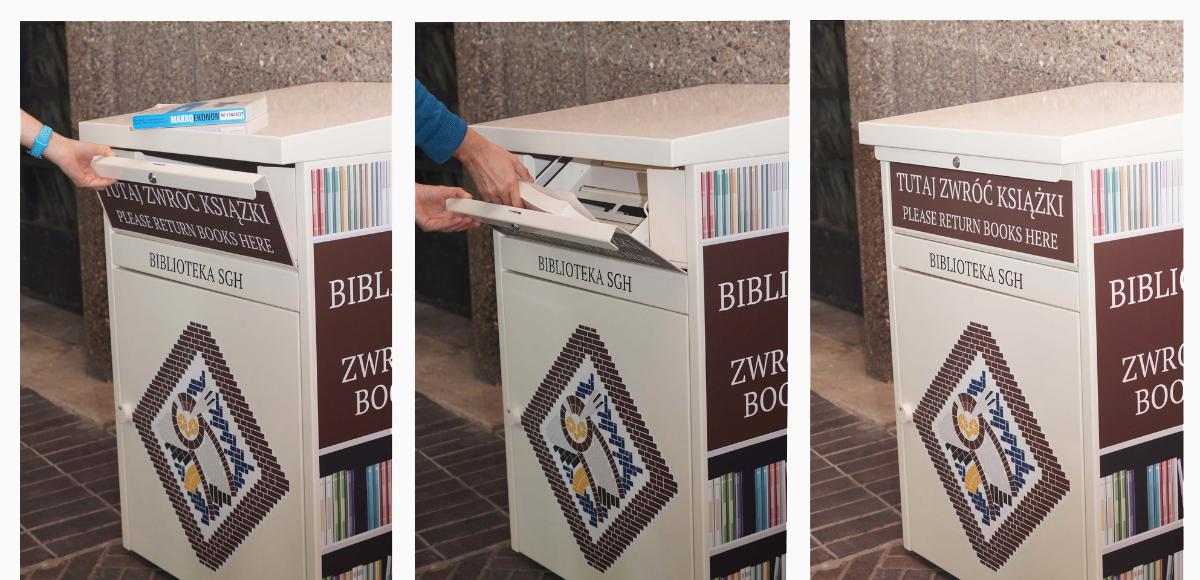 Instrukcja korzystania z wrzutni: otwierania jej, wkładania książki i zamykania.