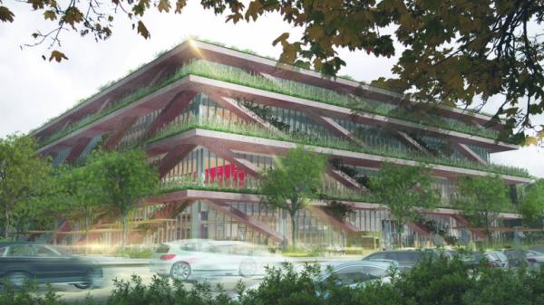Wizualizacja nowego budynku SGH przy ulicy Batorego w Warszawie